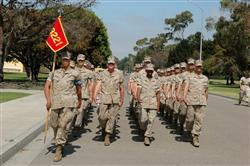 Marines marching at San Diego MCRD